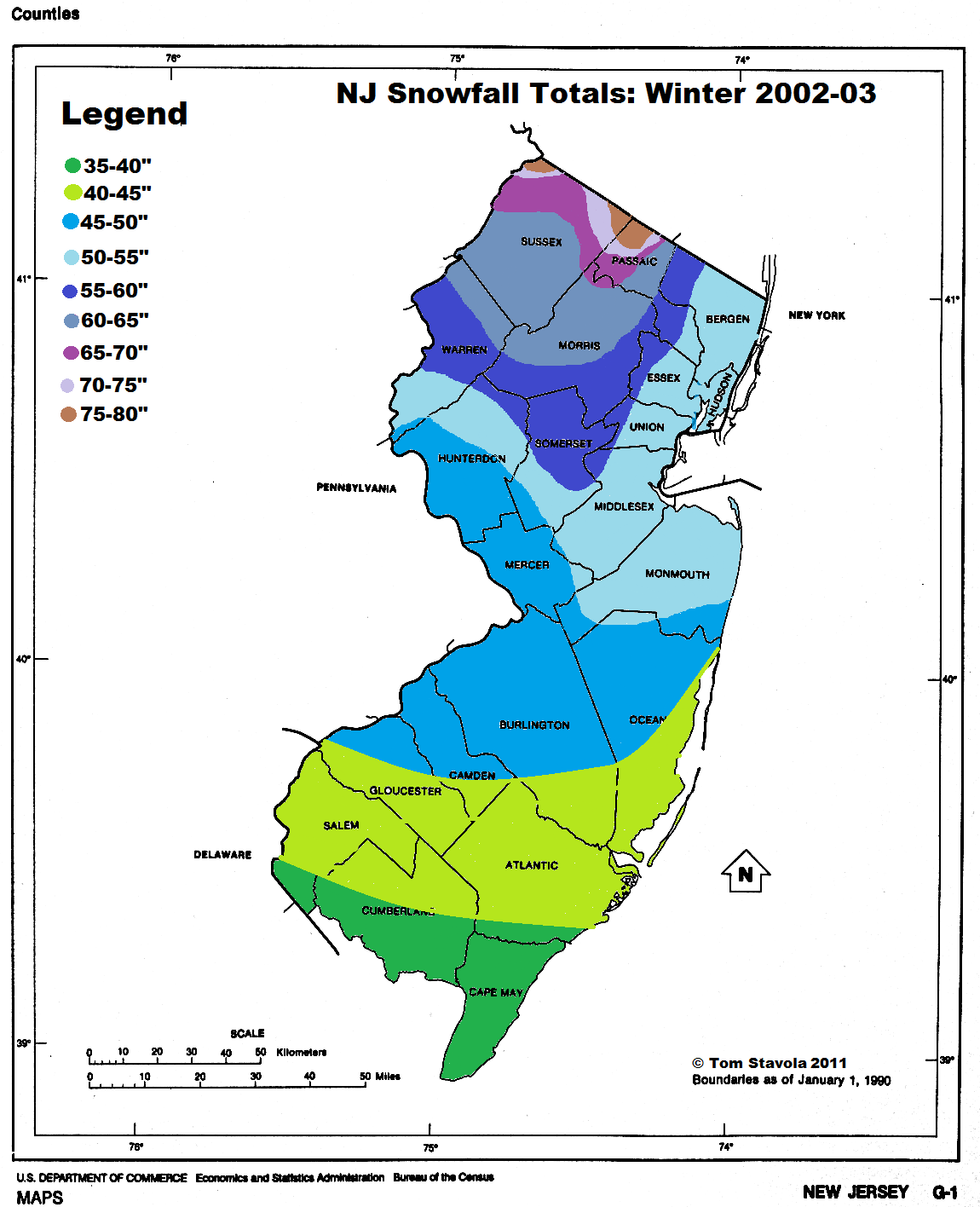 Light In The Storm NJ Annual And Average Snowfall Maps - Average yearly snowfall map