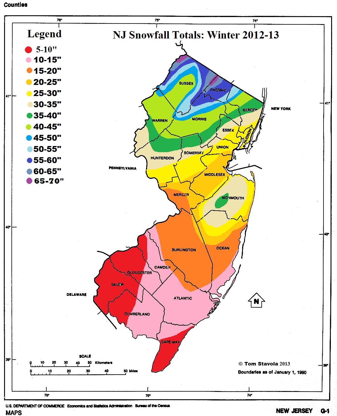 NJ Snowfall 2012 to 13