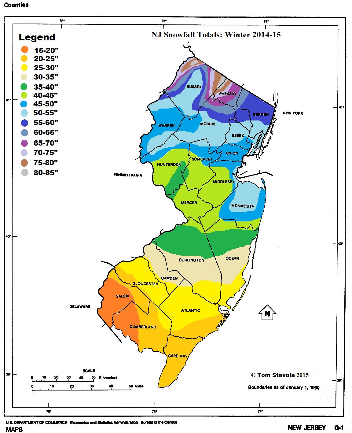 NJ Snowfall Totals 2014-15