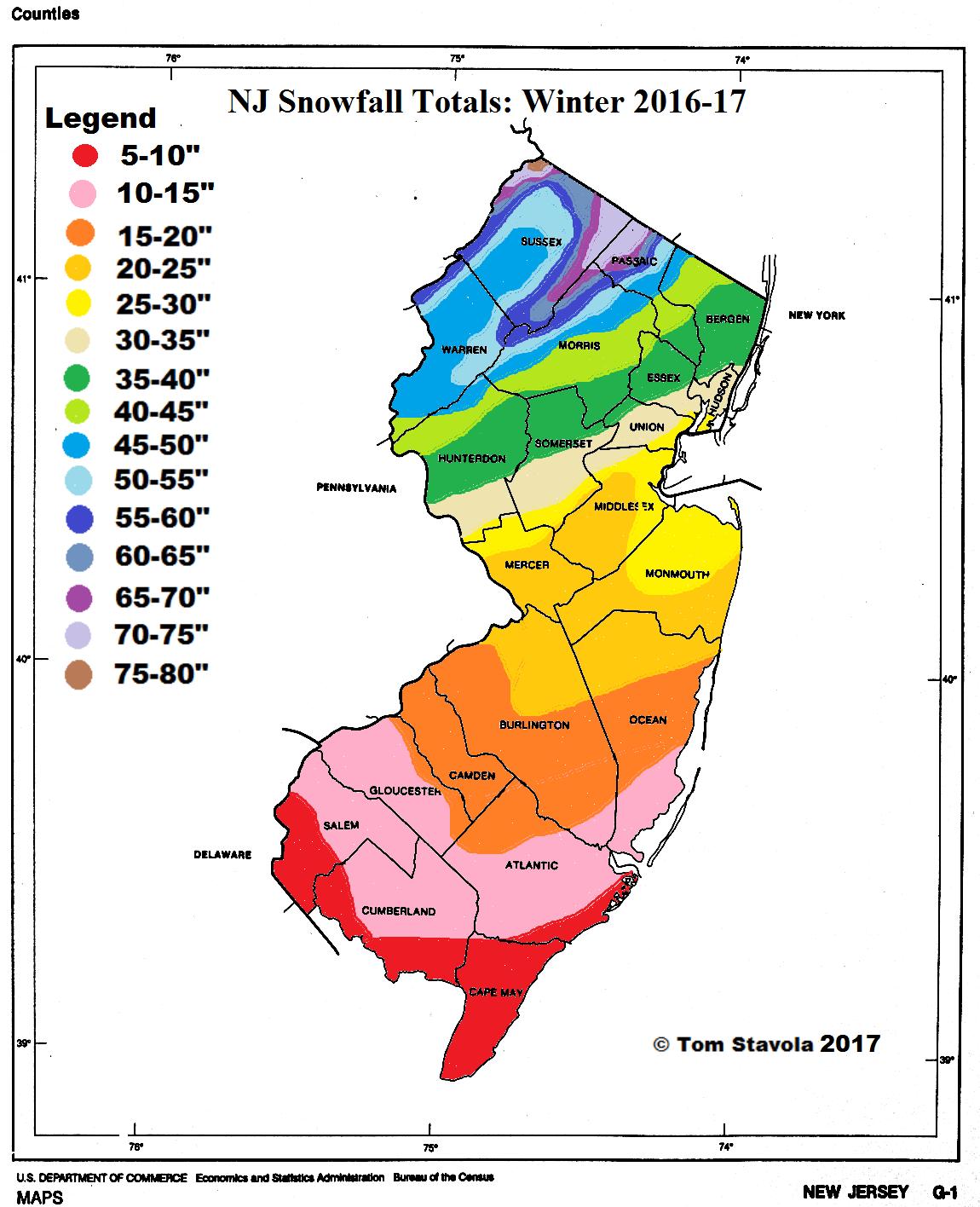 NJ Snowfall Totals 2016-17