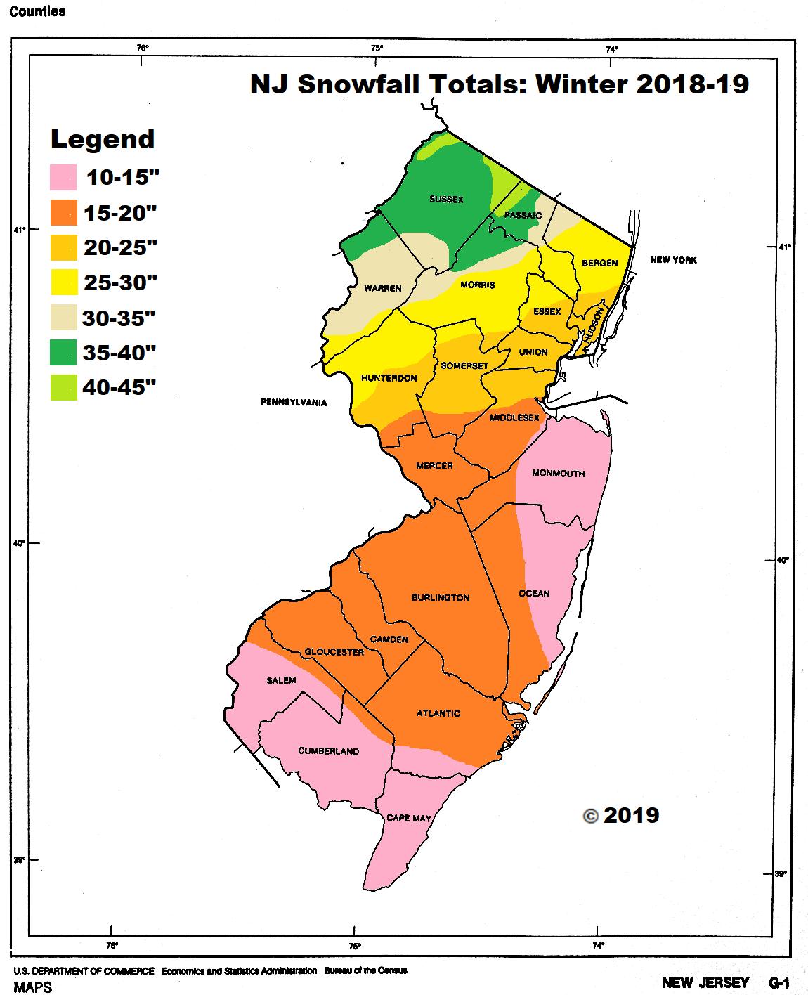 NJ Snowfall Totals 2018 19