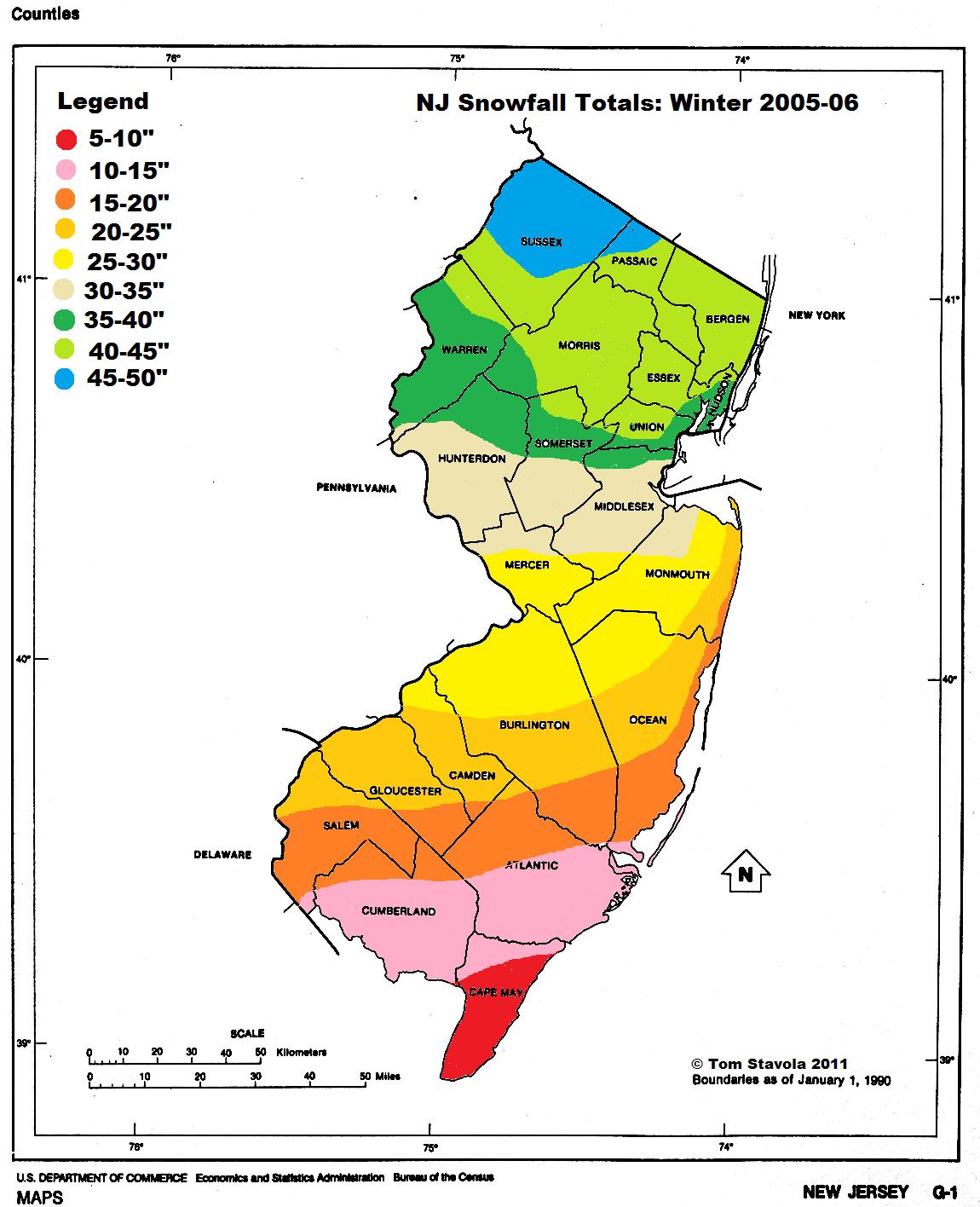 NJ snow totals 2005-06