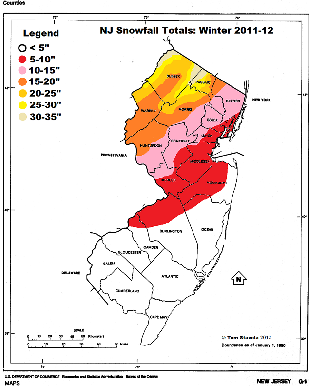 Light In The Storm Nj Annual And Average Snowfall Maps