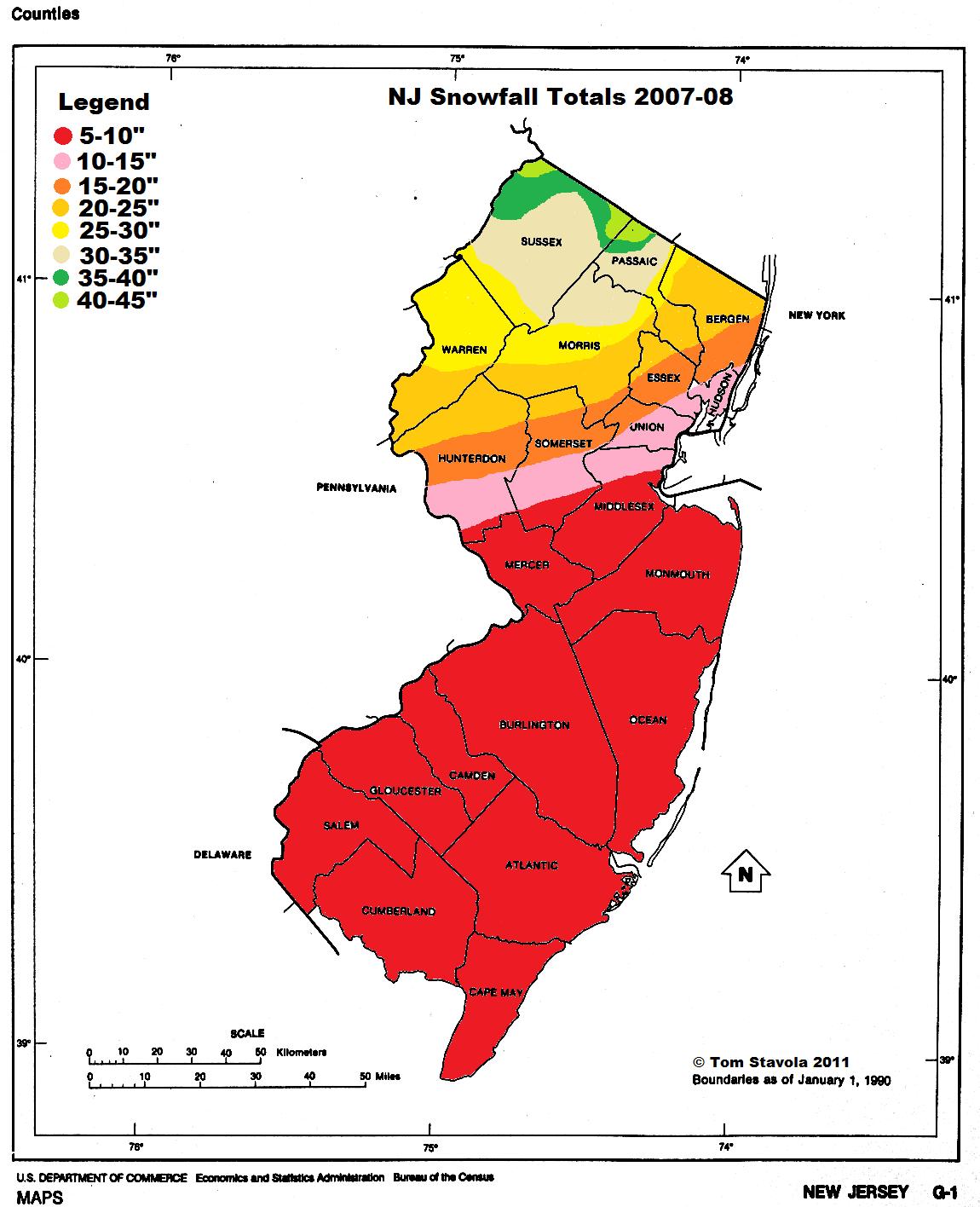 NJ snowfall totals 2007-08